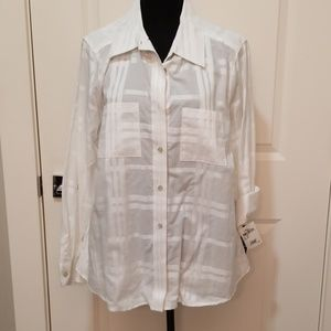 Foxcroft white striped button down shirt